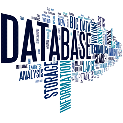 Text cloud consisting of terms relating to databases.