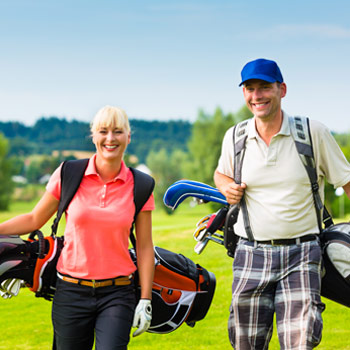Image of active young golfers.