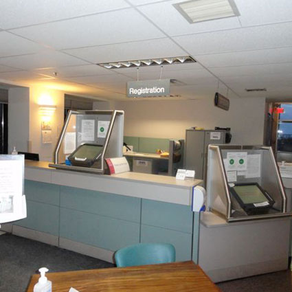 Image of automated patient self check-in desk at Hotel Dieu Hospital.
