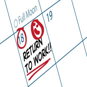 Image of date to return to work circled